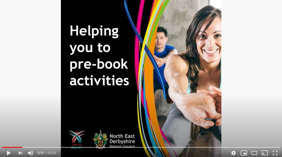 Watch the 'Leisure Centres - Helping you to pre-book activities' video on YouTube
