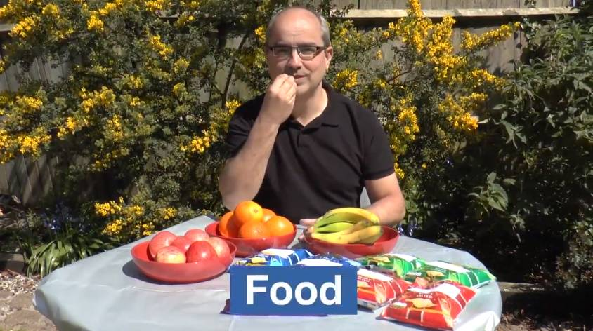 Watch th 'Learn how to sign food items using BSL' video on YouTube